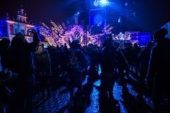波兰,克拉科夫- 2015年1月01日:庆祝新年2015年 免版税图库摄影