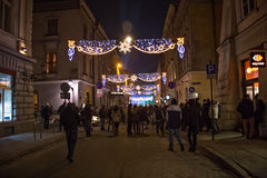 波兰,克拉科夫- 2014年12月31日:庆祝新年2015年 免版税库存照片