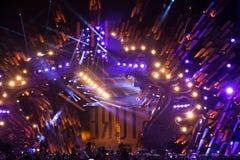 波兰,克拉科夫- 2015年1月01日:庆祝新年2015年 免版税库存图片