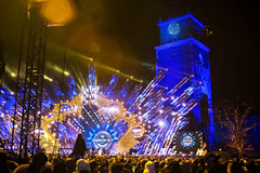 波兰,克拉科夫- 2015年1月01日:庆祝新年2015年 免版税库存照片