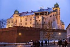 波兰,克拉科夫- 2015年1月01日:著名中世纪Wawel城堡在克拉科夫 库存图片