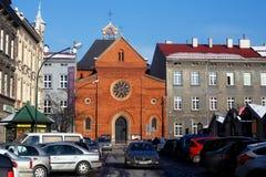 波兰,克拉科夫- 2014年12月31日:Sts Neogothic教会  文生・德・保禄在克拉科夫 免版税库存图片