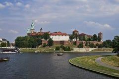波兰,克拉科夫 8月02-2017 防御历史记录克拉科夫中世纪纪念波兰wawel 库存照片