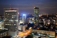 波兰,华沙在夜之前,城市。 免版税图库摄影