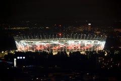 波兰,华沙在夜,全国Stadion之前。 免版税库存照片