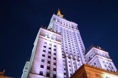 波兰,华沙,文化和科学宫殿在夜之前 免版税图库摄影