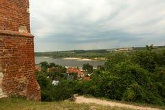 波兰,卡齐米日Dolny - 2017年7月 房子屋顶顶视图  免版税库存图片