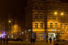 波兰,格但斯克- 2014年12月12日:在城市的老部分的历史建筑 免版税库存图片