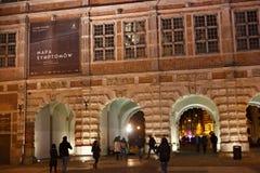 波兰,格但斯克- 2014年12月12日:著名中世纪绿色门布罗莫Zielona细节在格但斯克的历史中心 免版税库存图片