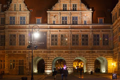 波兰,格但斯克- 2014年12月12日:著名中世纪绿色门布罗莫Zielona细节在格但斯克的历史中心 免版税库存照片