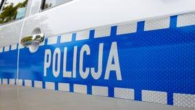 波兰,波兹南- 2016年10月1日 Policja -在汽车的标志波兰警察 库存图片