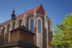 波兰, Krakà ³ w,卡齐米日,圣Catharine的哥特式Ch的东边 免版税图库摄影