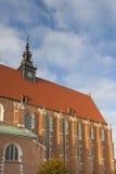 波兰, Krakà ³ w,卡齐米日,科珀斯克里斯蒂哥特式教会教堂中殿  图库摄影