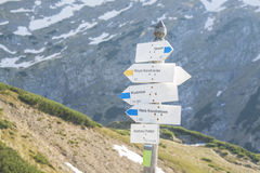 波兰, Tatra山,路标 免版税图库摄影