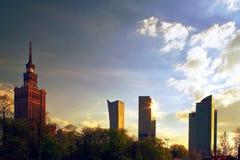 波兰:在晴天期间,华沙,市中心 库存照片