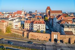 波兰 城市老托伦 鸟瞰图 免版税图库摄影