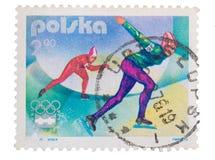 波兰-大约1976年:岗位邮票在展示滑雪ju打印了 免版税库存照片
