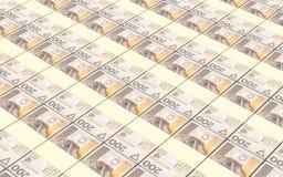 波兰货币票据堆背景 免版税库存图片