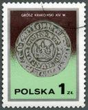 波兰- 1977年:展示卡齐米日Wielki国王` s克拉科夫波兰钱币, 14世纪,系列银币 免版税库存照片