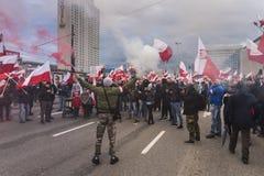 波兰` s全国美国独立日每年行军2017年 库存照片