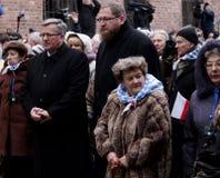波兰BronisA?总统'aw Komorowski,解放的第70周年在纳粹德国concentraction的 库存图片