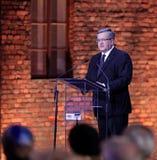 波兰BronisA?总统'aw Komorowski,解放的第70周年在纳粹德国concentraction的 免版税库存照片