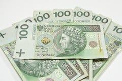 波兰PLN货币100 库存图片