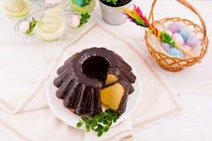 波兰schokolade babka 免版税库存照片