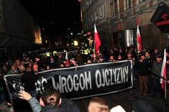 波兰wroclaw 2018年11月11日 3月民族主义者在波兰,弗罗茨瓦夫庆祝100年恢复独立 图库摄影