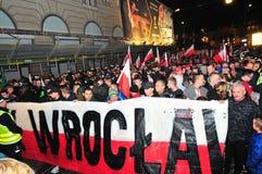 波兰wroclaw 2018年11月11日 3月民族主义者在波兰,弗罗茨瓦夫 库存图片