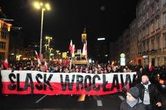 波兰wroclaw 2018年11月11日 3月民族主义者在波兰,弗罗茨瓦夫 库存照片