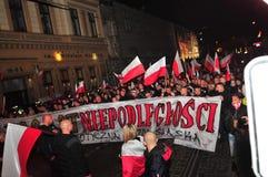 波兰wroclaw 2018年11月11日 3月民族主义者在波兰,弗罗茨瓦夫 免版税库存图片