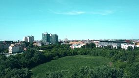 波兹南,波兰- 2018年5月20日 老被破坏的埃德蒙Szyc体育场鸟瞰图  免版税图库摄影