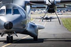 波兹南,波兰- 6月14 :在Ae期间的波兰空军队住处C-295M 免版税图库摄影