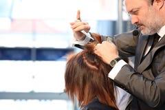 波兹南- 4月18 :整理棕色头发与的美发师剪 免版税库存图片