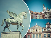 波兹南(波兰)图象拼贴画-旅行背景(我的phot 库存照片