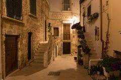 波利尼亚诺阿马雷老镇浪漫街道在与在台阶写的诗,普利亚地区的夜之前,在意大利南部 免版税图库摄影