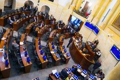 波哥大,哥伦比亚2017年10月22日:未认出的人在参议院会议,在国会大厦在波哥大 库存照片