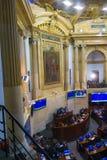 波哥大,哥伦比亚2017年10月22日:未认出的人在参议院会议,在国会大厦在波哥大 免版税库存图片