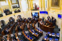 波哥大,哥伦比亚2017年10月22日:未认出的人在参议院会议,在国会大厦在波哥大 图库摄影