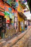 波哥大,哥伦比亚2017年10月22日:街道画包括的墙壁在波哥大,资本La坎德拉里亚角邻里  免版税库存照片