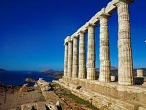 波塞冬古庙在品柱Sunio的在Attica希腊 图库摄影