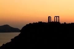 波塞冬寺庙在日落的 免版税库存照片