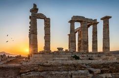 波塞冬寺庙在海角Sounion的在Attica,希腊 库存照片