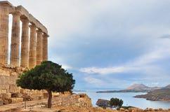 波塞冬寺庙在海角Sounion Attica希腊的 库存照片