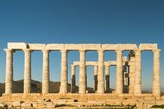 波塞冬寺庙在Sounio在希腊 免版税图库摄影