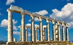 波塞冬寺庙在Sounio,希腊 库存照片