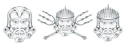 波塞冬-古希腊至尊海神 希腊神话 海王星三叉戟 奥林山神收藏 手拉的人头 博若莱红葡萄酒 库存图片