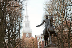 波士顿保罗尊敬雕象 库存照片