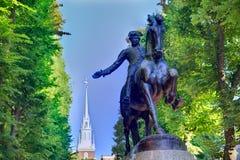 波士顿保罗・雷韦雷购物中心雕象马萨诸塞 免版税库存照片